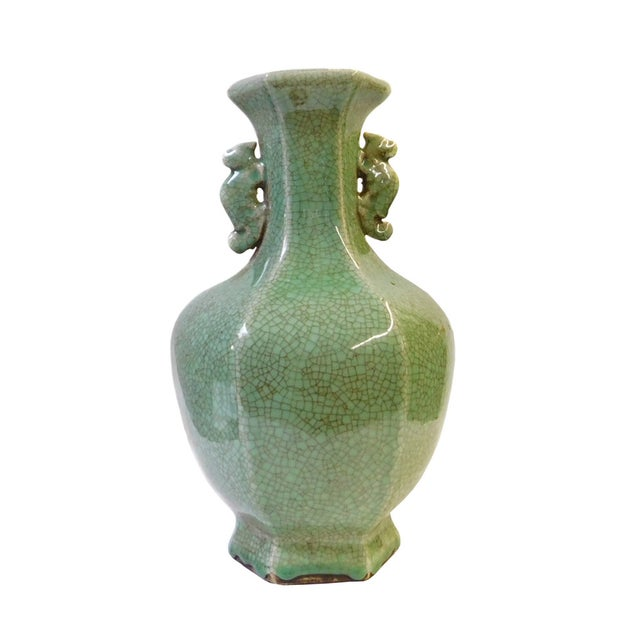 Ceramic Crackle Pattern Hexagon Celadon Green Vase For Sale