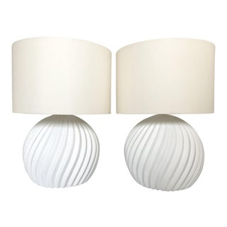 White Gesso Swirl Table Lamps - A Pair