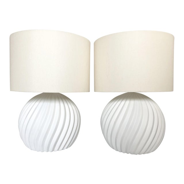 White Gesso Swirl Table Lamps - A Pair For Sale