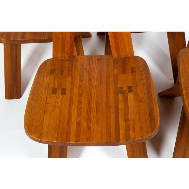 Brown Four Chairs by Pierre Chapo S45 in Solid Elm For Sale - Image 8 of 12