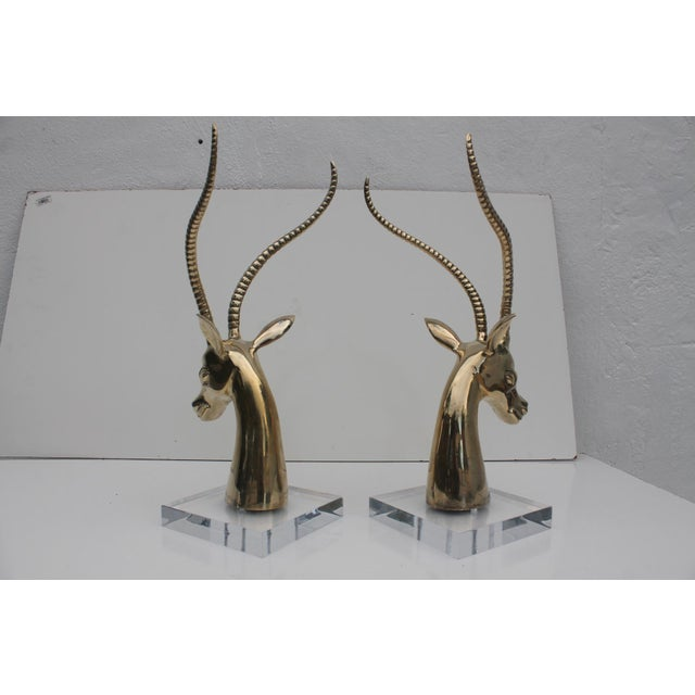 Hollywood Regency Ibex Brass on Lucite Base Sculptures - A Pair For Sale - Image 4 of 10