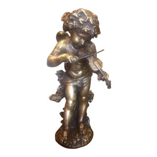 1900's Signed E. Gregoire French Bronze Cherub With Violin For Sale