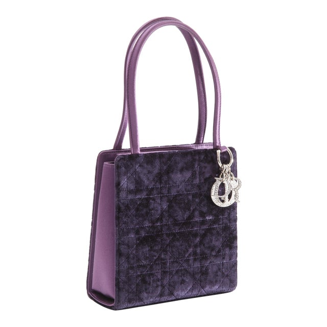 Petite Christian Dior Lady Dior Bag - Crushed Purple Velvet and Crystal Embellished For Sale