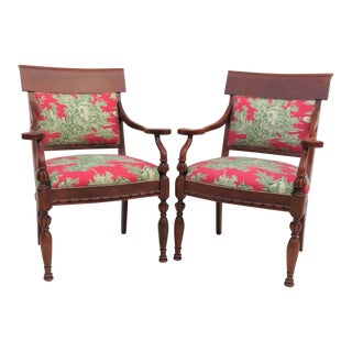 Baker Regency Style Armchairs - A Pair For Sale