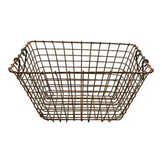 Late 19th Century Antique French Wire Oyster Basket For Sale