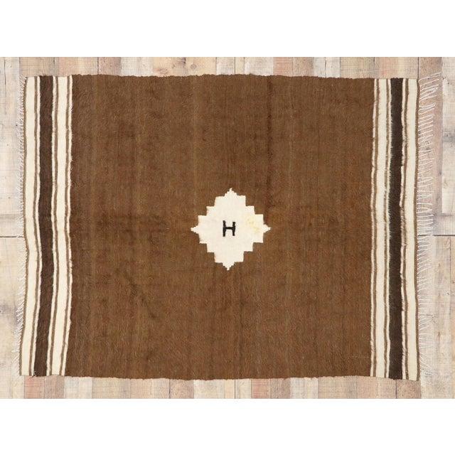 Textile Vintage Turkish Kilim Rug, Square Flat-Weave Rug - 04'03 X 05'05 For Sale - Image 7 of 9