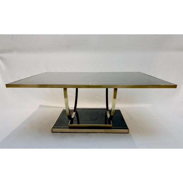 Italian Contemporary Art Deco Black Glass And Brass Coffee Table