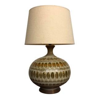 Vintage Bulbous Earth Tones Ceramic Table Lamp For Sale