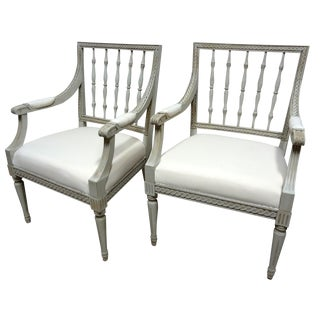 Slatted Back Swedish Arm Chairs - a Pair For Sale