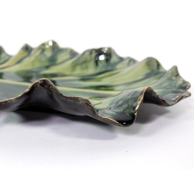 Ceramic Large Acanthus Leaf Majolica Platter in Natural Green by Jardins en Fleur For Sale - Image 7 of 10