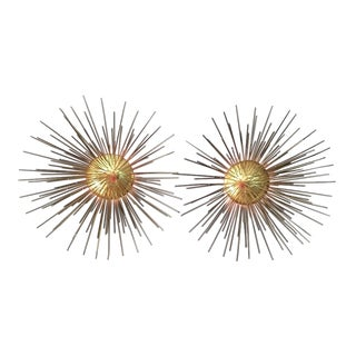 Gilded Starburst Sconces - a Pair For Sale
