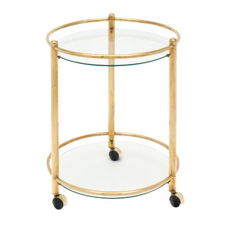 French Brass and Glass Side Table on Casters For Sale
