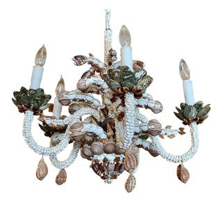 Natural Five-Light Brown and White Shell Chandelier For Sale