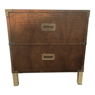 Henredon Campaign Style Nightstand/End Table For Sale