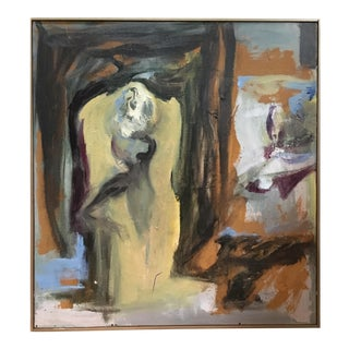Vintage Mid Century Abstract Oil Painting For Sale