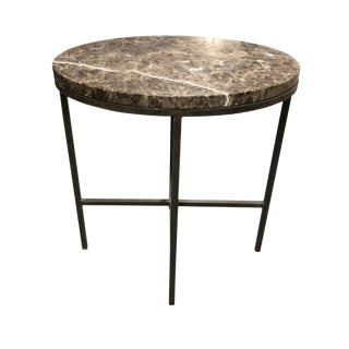 Baker Furniture, Marble and Iron Side Table, Modern and Traditional Decor For Sale