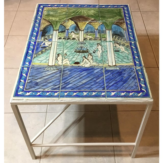 Islamic Vintage Persian Tile Top Coffee Table For Sale - Image 3 of 13