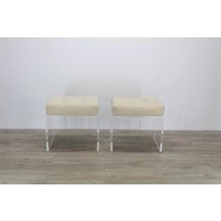 Cream Waterfall Acrylic & Chenille Benches- a Pair Preview