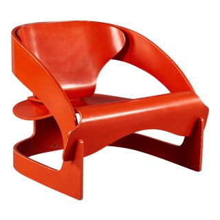 "Red Lacquered Sculptural Joe Colombo No. 4801 ""Interlocking"" Chair for Kartell"