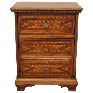 17th C. Italian Baroque Inlaid Walnut Wood Side Cabinet Table For Sale