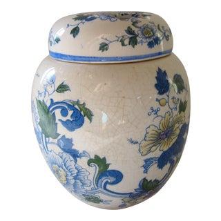 Vintage Blue and Ivory Ginger Jar Potpourri Holder For Sale