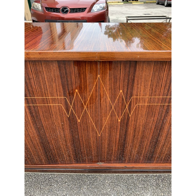 Metal 1940s Vintage French Macassar Ebony Sideboard For Sale - Image 7 of 13