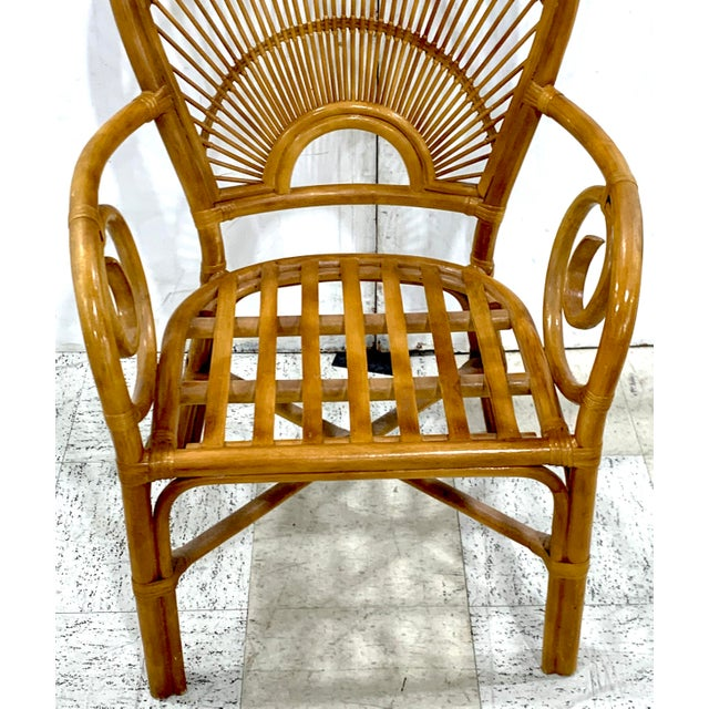 1970s Bamboo & Rattan Back 'Sunrise' Armchairs - a Pair For Sale - Image 10 of 11