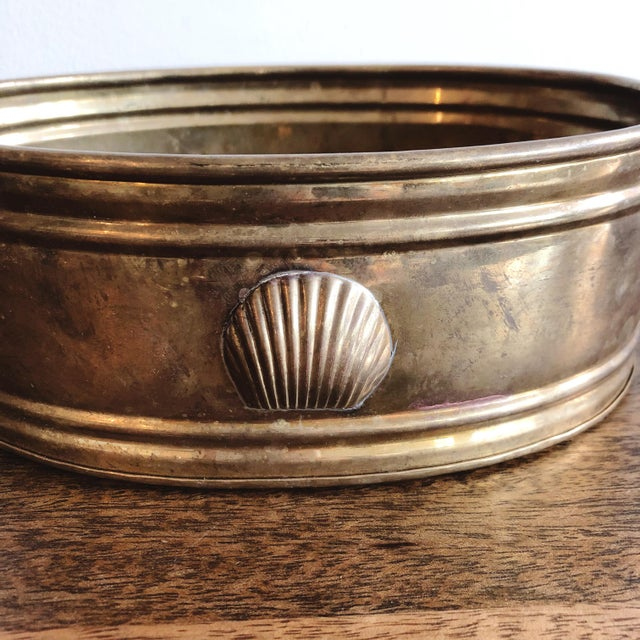 Asian Vintage Brass Oval Planter With Seashell For Sale - Image 3 of 7