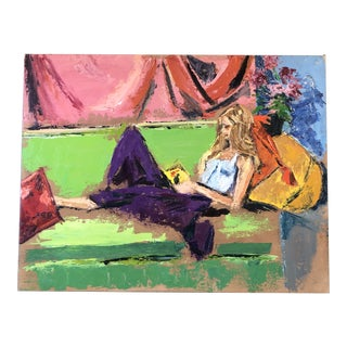 Vintage Original Abstract Female Reading in Interior Painting 1970's For Sale