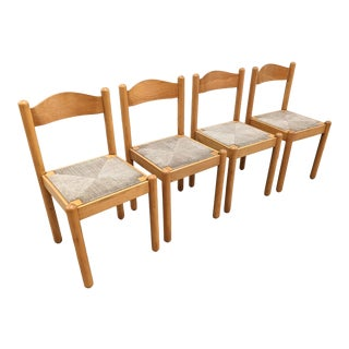 1980s Vintage Solid Maple Cord Seat Dining Chairs - Set of 4 For Sale
