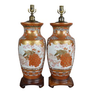 Early 20th Century Japanese Kutani Vases Converted to Lamps- a Pair For Sale
