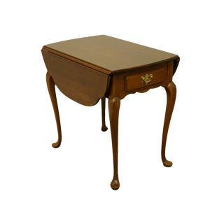 20th Century Queen Anne Hitchcock Solid Cherry Accent Pembroke/Drop Leaf End Table For Sale