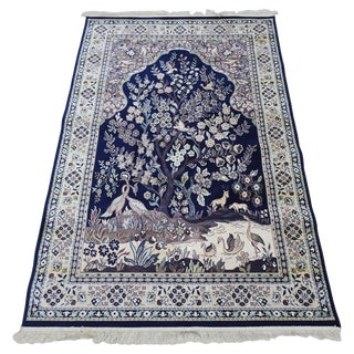 Silk Tapestry Rug From Mid-20th Century For Sale