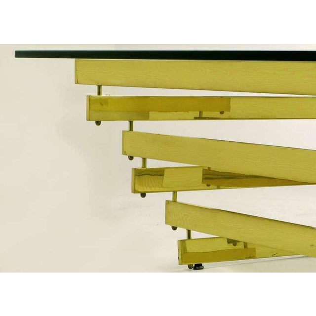 Brass Architectural Stacked Solid Brass Bar & Glass Coffee Table For Sale - Image 7 of 9