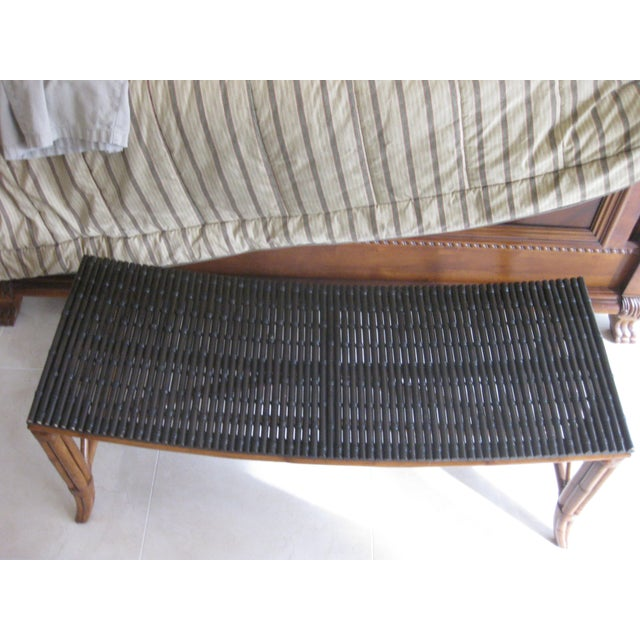 Palecek Rattan Bench For Sale In Orlando - Image 6 of 6