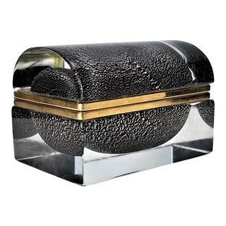 Murano Glass Box by Alessandro Mandruzzato - Silver and Black Heavy Glass - Italy Italian Mid Century Modern Palm Beach Boho Chic For Sale