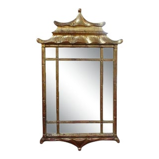 Italian Giltwood Chinese Chippendale Style or Chinoiserie Pagoda Mirror For Sale