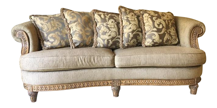 Chenille Skirted Sofa: Baci Living Room