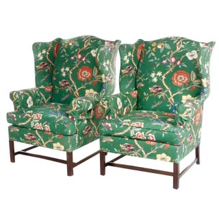 George III Style Tropical & Floral Print Wingback Chairs - a Pair For Sale