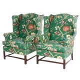 Image of Vintage George III Style Wingback Chairs - a Pair For Sale