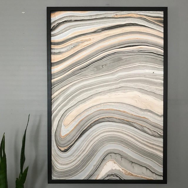Explore the many layers of this framed hyro-dipped acrylic on paper piece. Each pattern is a unique one of a kind design....