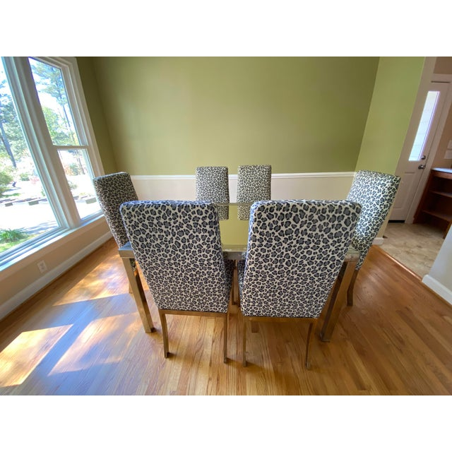 1970s Mastercraft Brass Expandable Dining Table & Mastercraft Leopard Chairs With Brass Legs - Set of 7 For Sale In Raleigh - Image 6 of 13