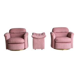 Milo Baughman Pink Swivel Chairs and Ottoman- 3 Pieces For Sale