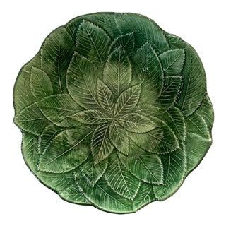 1960s Vietri Foglia Leonardo Majolica Green Leaf Bowl For Sale