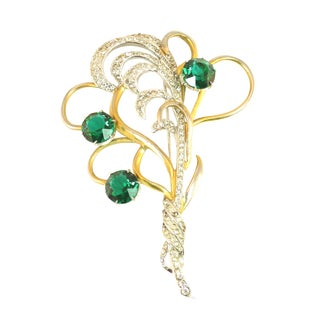 Mid-Century Silson Sterling, Rhodium, & Emerald Crystal Bouquet Brooch, 1940s For Sale