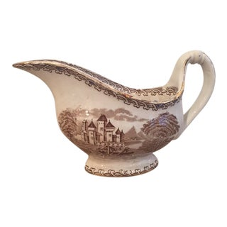 Vintage Ironstone Brown Transfer Ware Gravy Boat For Sale