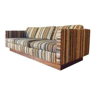 Mid-Century Scandinavian Low-Profile Sofa With Walnut Base For Sale