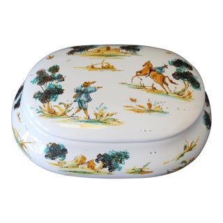 Vintage Ernan Albisola Italian Ceramic Lidded Trinket Box For Sale