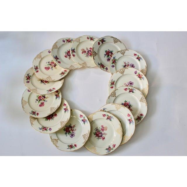Set of 13 Floral Porcelain Czechoslovakian Epiag Dessert/Bread Plates - Image 7 of 11