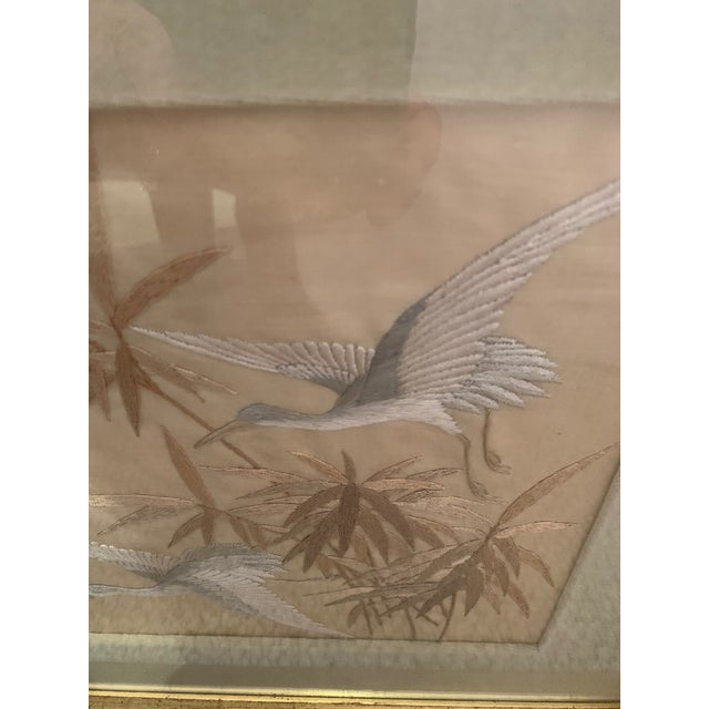 Antique Framed Fine Needlework of Herons -A Pair For Sale - Image 4 of 11